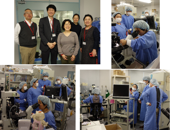 The lab tour for Dr. Han, Dr. Ryu (Shanghai TOWAKO Hospital) and Dr. Sugiyama (Tsukuba Unv.)